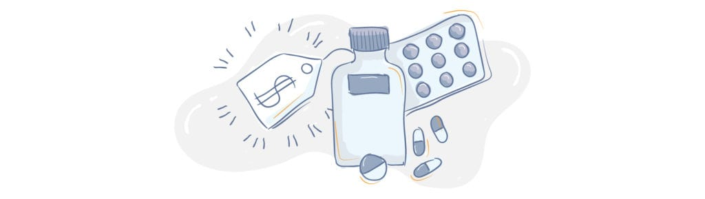 page divider | pill bottle illustration