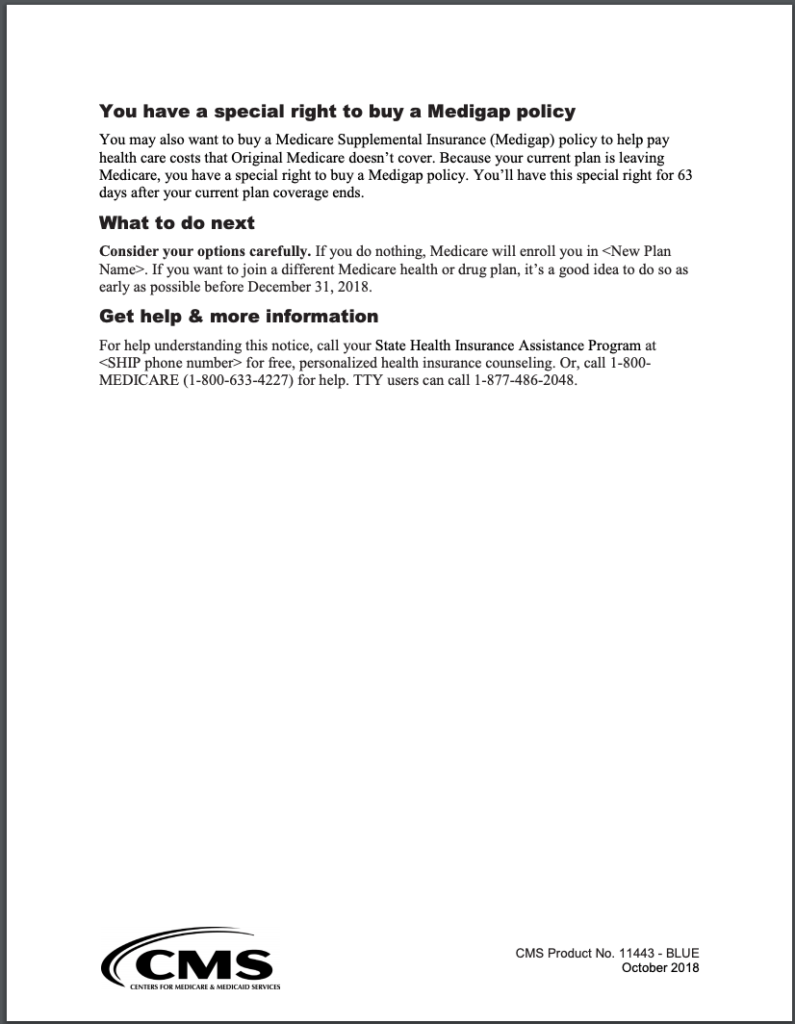 Medicare Advantage Plan Reassignment Notice page 2