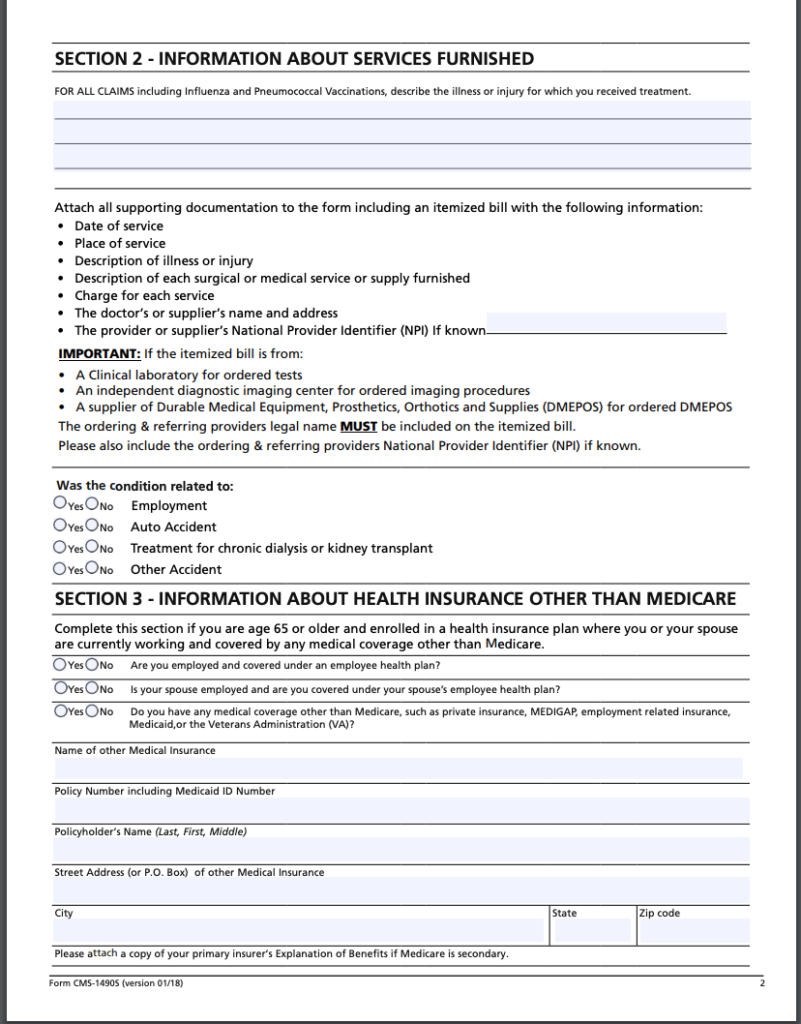 Medicare Patient's Request for Medical Payment Form page 2